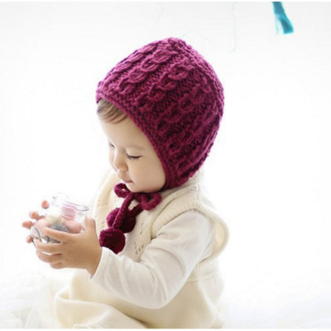 Knit Winter Bonnet, White/Plum