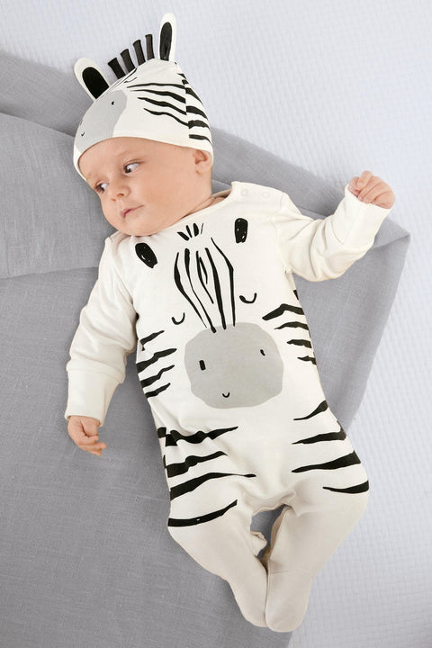 Zebra Footed Jumpsuit with Cap