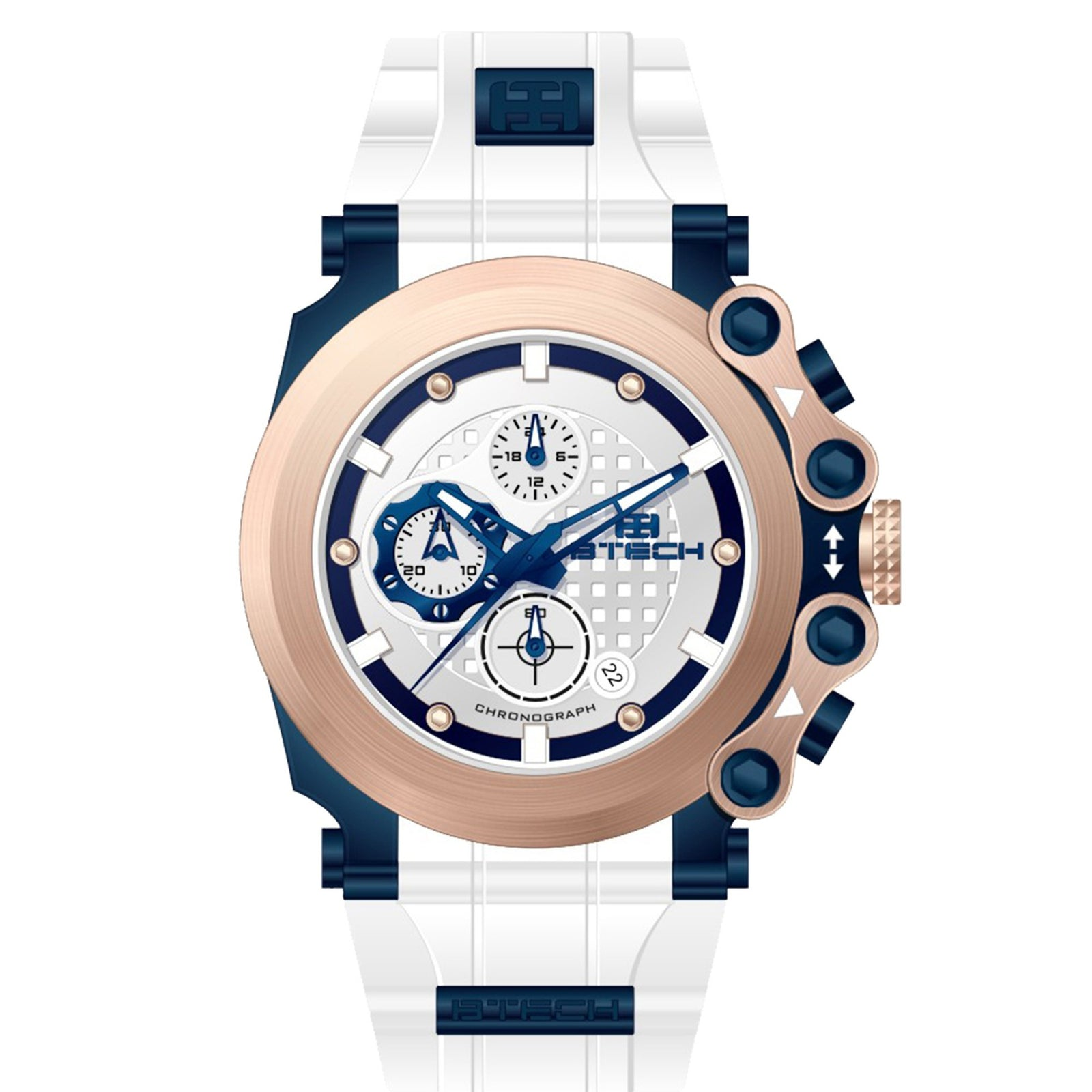 BTECH Cite Chrono White Blue Unisex Watch (BT-CC-343-01)