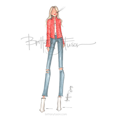 Brittany Fuson, fashion illustration, spring trends, neon, fuzzy jacket
