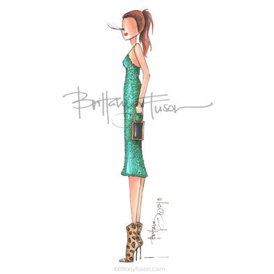 sequins, emerald green, leopard boots, western wear, fashion illustration, Brittany Fuson