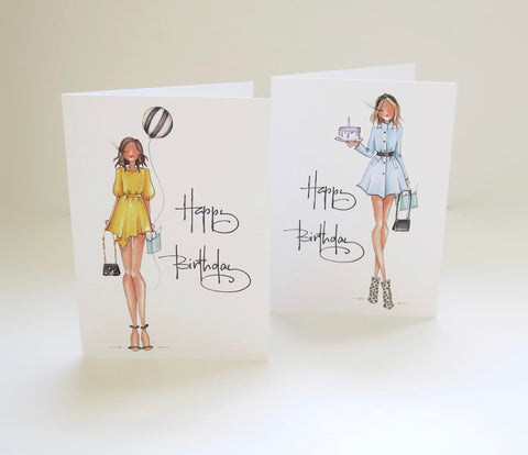 Brittany Fuson, fashion illustration, birthday cards