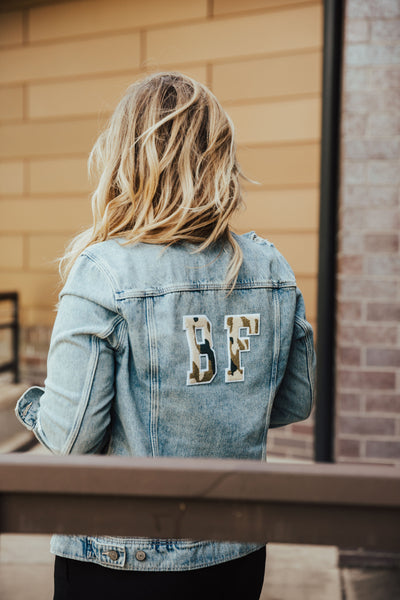 Brittany Fuson, DIY project, denim jacket, camo, varsity letters, blogger