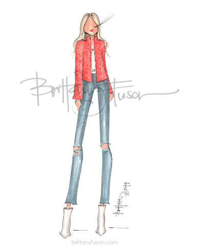 Brittany Fuson, spring trends, neon, fashion illustration