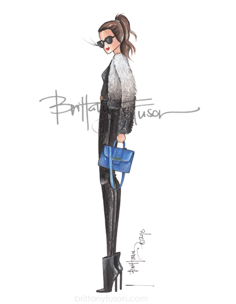 Brittany Fuson, fashion illustration, furry coat, winter