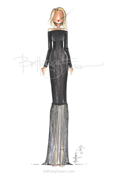 black tie, long black dress, little black dress, formal event, Brittany Fuson, fashion illustration