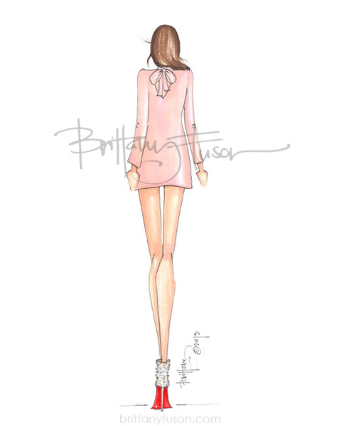 Brittany Fuson, fashion illustration, bow back dress, what to wear to a holiday party, cocktail dress, cocktail party