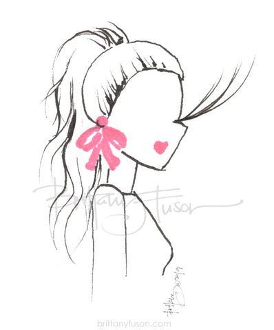 Brittany Fuson, fashion illustration, high pony, bow earrings