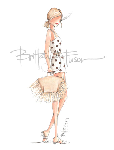 Brittany Fuson, spring trends, raffia, wood, acrylic, rattan, fashion illustration