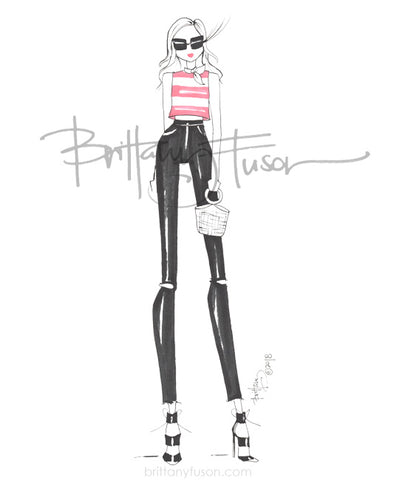 Brittany Fuson, fashion illustration, black & white, summer