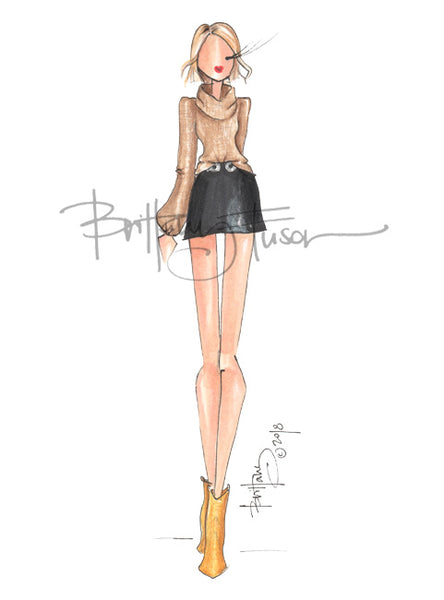 Brittany Fuson, fashion illustration, western wear, fall trends, cowboy boots