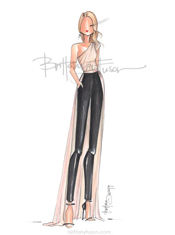 Brittany Fuson, red carpet, Golden Globes, fashion illustration, Julia Roberts