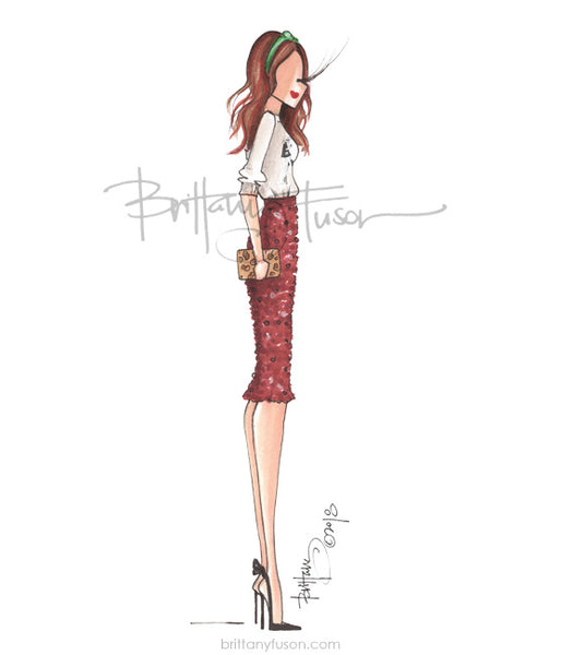 Brittany Fuson, fashion illustration, office holiday party, sequins, sweatshirt