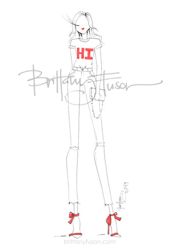 Brittany Fuson, fashion illustration, graphic tee
