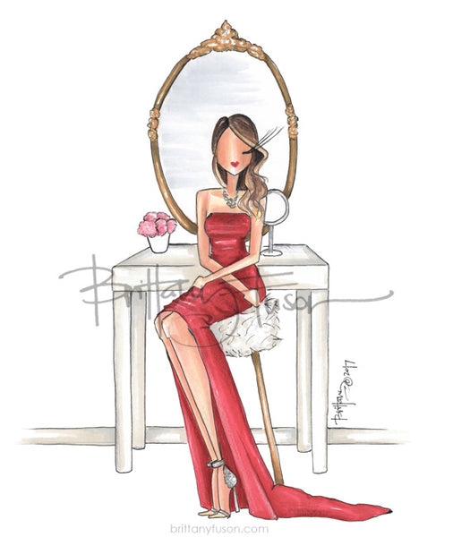 Brittany Fuson, fashion illustration, gift guide, Valentine's Day, red dress