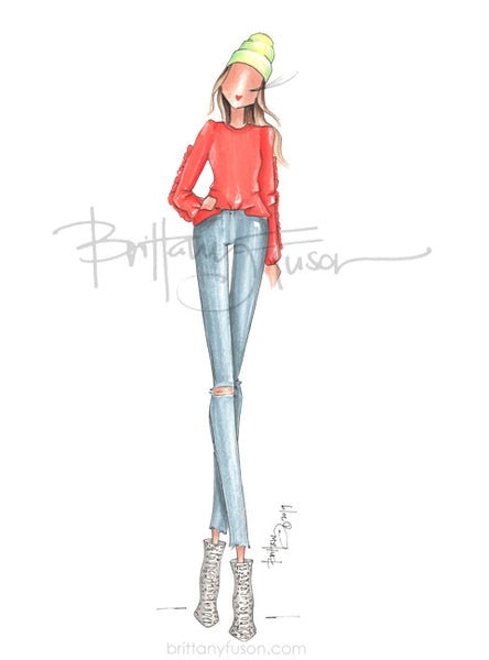 Brittany Fuson, fashion illustration, trends, living coral