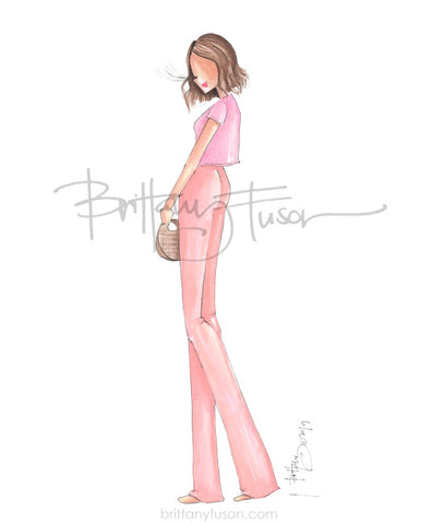 Brittany Fuson, fashion illustration, pink