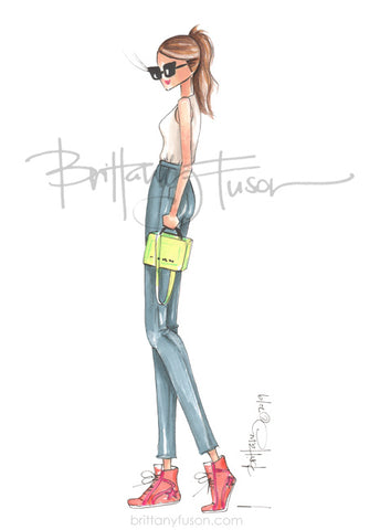 Brittany Fuson, Golden Goose, fashion illustration, sneakers, neons, spring trends