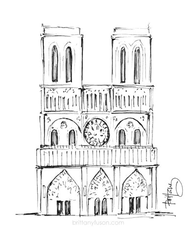 Brittany Fuson, illustration, Notre Dame, Paris, France