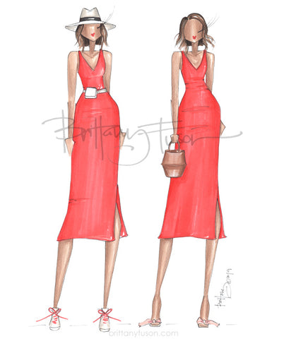 Brittany Fuson, fashion illustration, one dress two ways