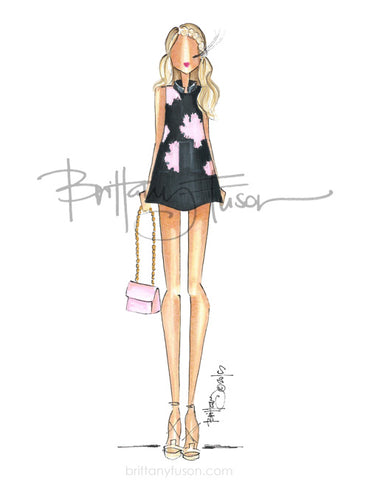 Brittany Fuson, fashion illustration, peony dress