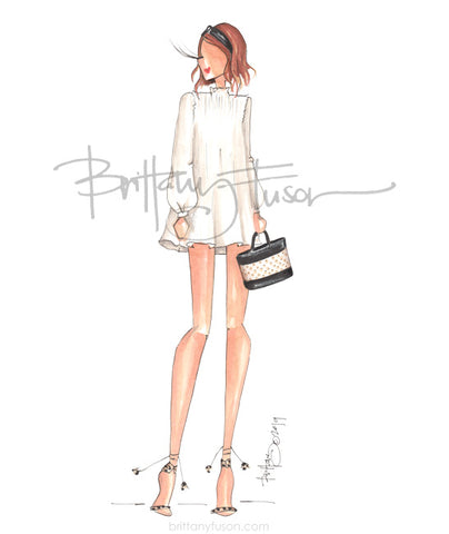 Brittany Fuson, white cotton dress, spring trends, rattan, headbands, fashion illustration