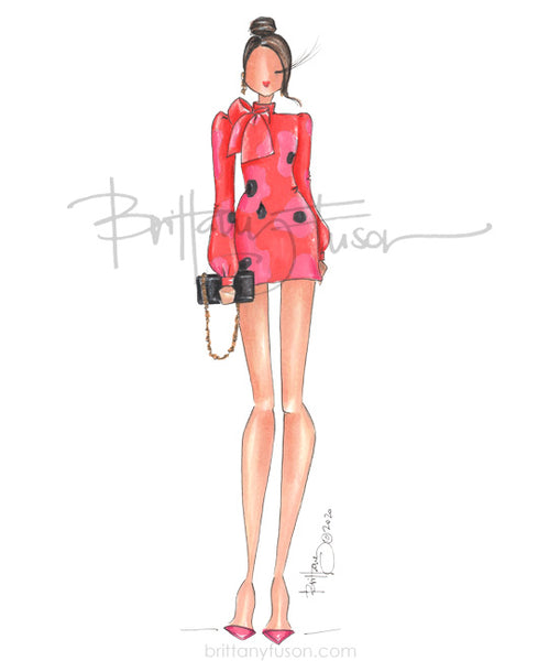 Brittany Fuson, fashion illustration, spring trends, cocktail dress