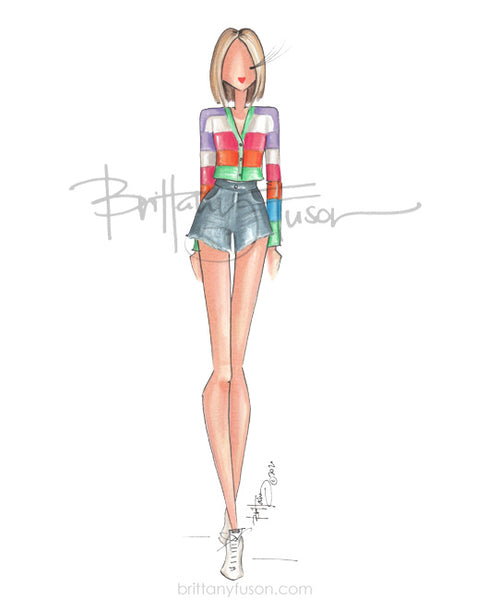 Brittany Fuson, fashion illustration, rainbow, covid