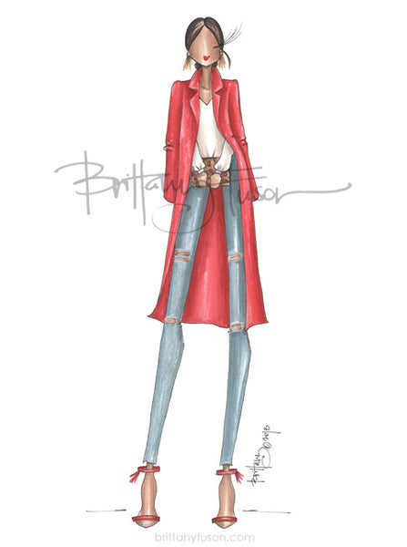 red jacket, leopard, fashion illustration, fall style, Brittany Fuson