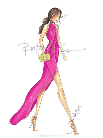 Brittany Fuson, hot pink, spring trends, fashion illustration