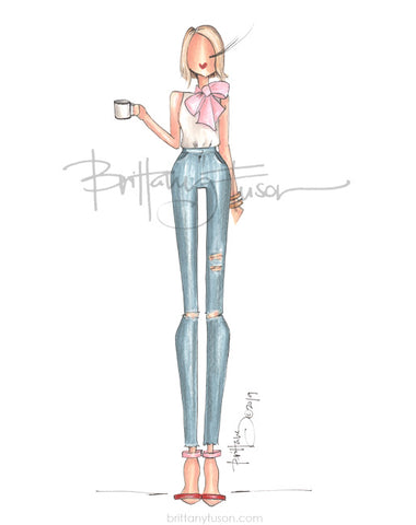 Brittany Fuson, fashion illustration, pink bow, coffee, distressed jeans