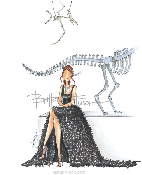 Brittany Fuson, t rex, dinosaurs, museum, fashion illustration, October, Halloween