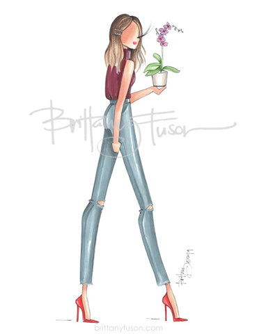 Brittany Fuson, fashion illustration, orchid, thinking of you