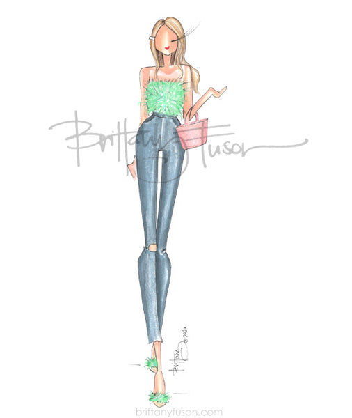 Brittany Fuson, fashion illustration, summer, feather top,