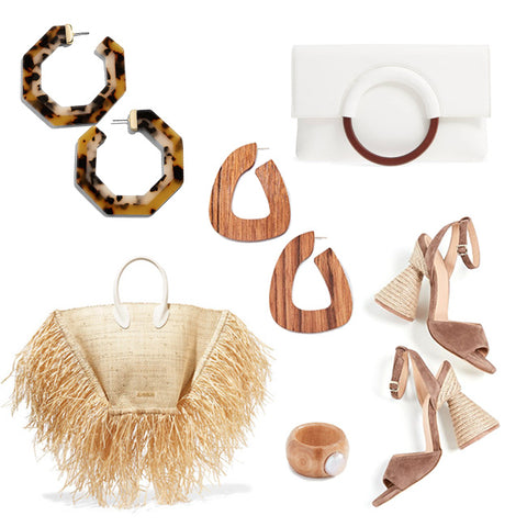 fashion illustration, acrylic hoops, wood elements, fringed raffia tote, spring trends