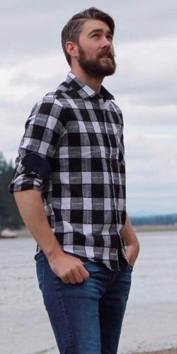 White and Black Plaid Flannel
