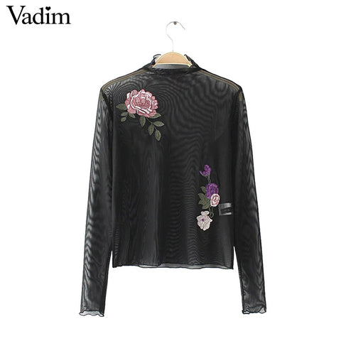 Women sexy flower embroidery mesh shirts long sleeve transparent blouse female stand collar casual brand tops blusas LT1557