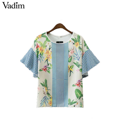 Vadim women bird floral patchwork loose shirts butterfly sleeve o neck blouse ladies summer fashion casual tops blusas DT1206