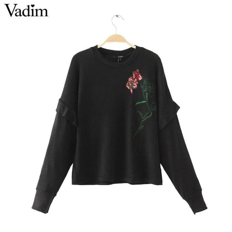 Women flower patch ruffles knitted oversized sweaters long sleeve turtleneck warm pullovers autumn female casual tops SW1193