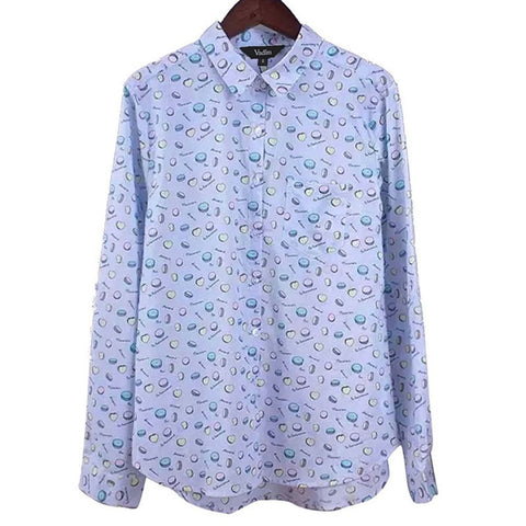 Women vintage heart print blouses long sleeve turn-down collar casual shirts blusa feminina office wear tops LT542