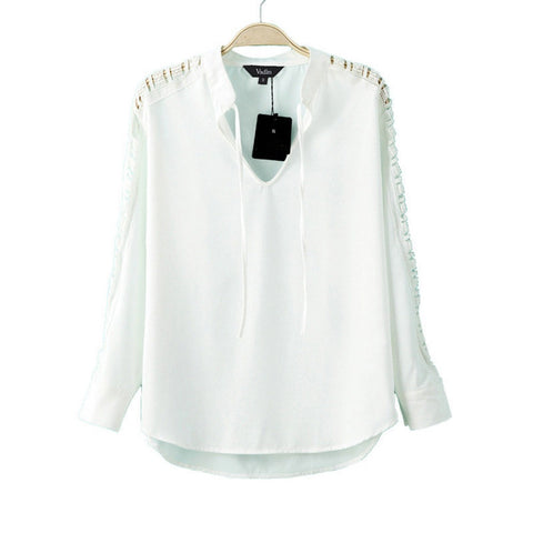Women white lace patchwork blouses V-neck hollow out long sleeve shirts blusa feminina fashion work wear tops LT517