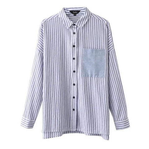 women striped loose blouse long sleeve elegant office work wear shirts pocket design ladies casual brand tops blusas LT1057