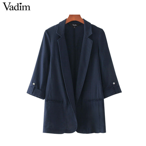 women stylish solid blazer notched collar long sleeve