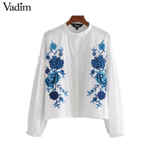 Women elegant floral embroidery loose shirt lantern sleeve o neck ruffles blouse female casual streetwear tops blusas LT2010
