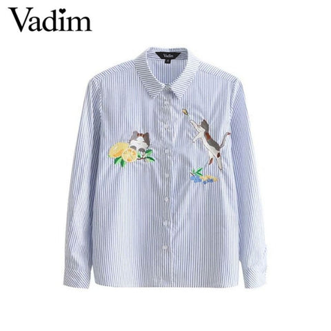 Women cute cat lemon embroidery striped blouse long sleeve shirts