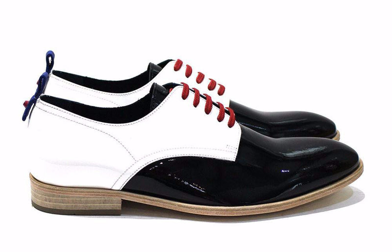 Men's Classic Shoe, Black and White Patent Leather, Handmade with Leather Soles - Cabot