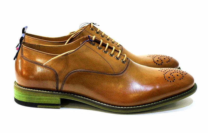Campbell Men's Classic Handmade Shoe, All Leather in Tan Wingtip, Leather Soles - Cuoio