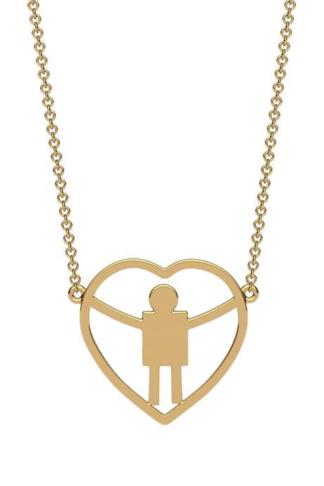 For a mom of a boy. In 14k gold.