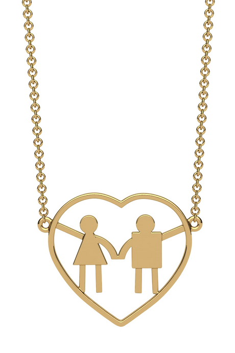 For a mom of one girl and one boy. In 14k gold.