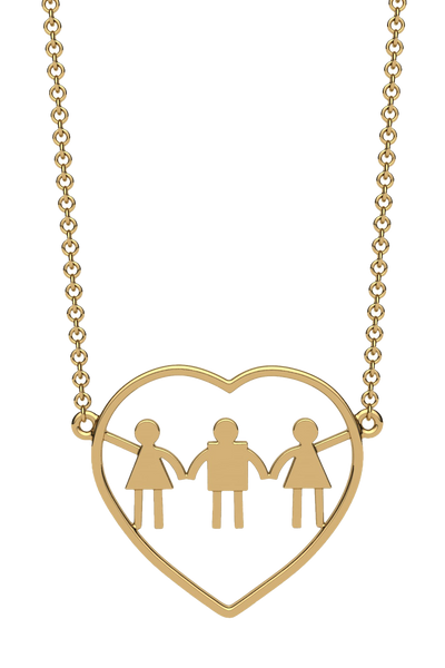 For a mom of two girls and one boy. In 14k Gold.